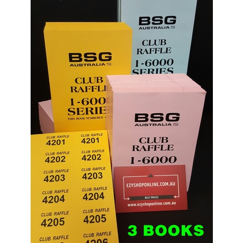 BSG Club Raffle Tickets 1-6000 SERIES - (3 Books)
