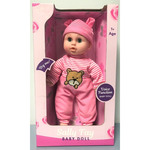 Sally Fay Toy Baby Doll 34cm Voice Function