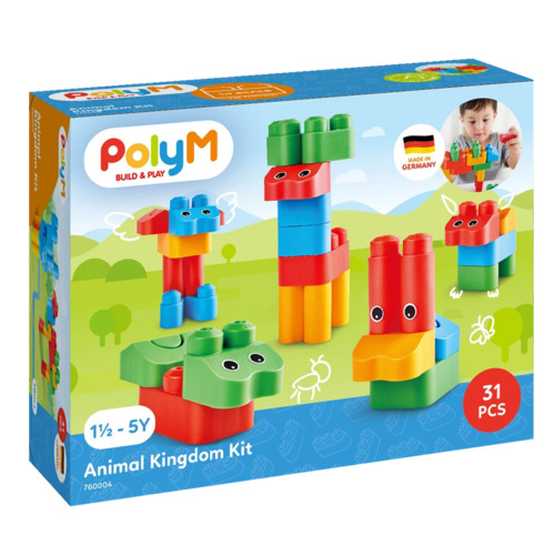 PolyM Build and Play Animal Kingdom Kit Coloured Building Bricks Blocks