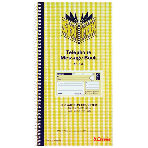 Spirax 550 Telephone Message Book Carbonless Duplicate