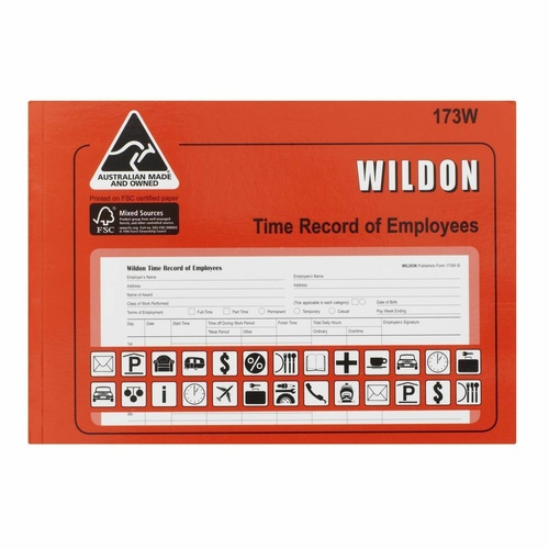Wildon Time Record of Employees Book - WIL173