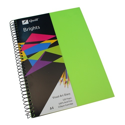 Quill Visual Art Diary A4 Brights 60 Leaf - Green