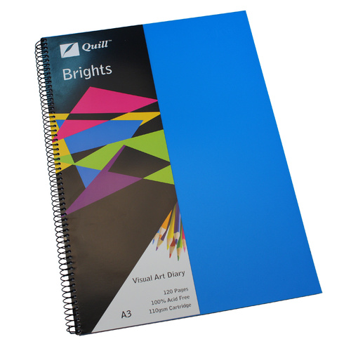 Quill Visual Art Diary A3 Brights 60 Leaf - Blue