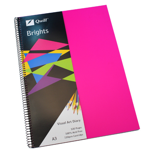 Quill Visual Art Diary A3 Brights 60 Leaf - Pink