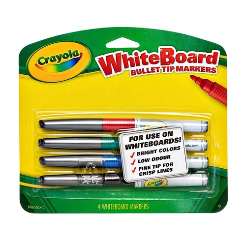Crayola Visi-Max Markers Bullet Tip Whiteboard Marker Non Toxic  4 Pack- Assorted