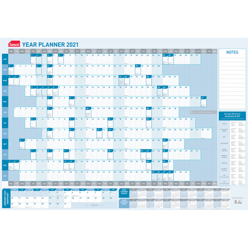 Sasco 2021 Yearly Wall Planner 870 x 610mm With Pen Kit